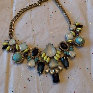 Crystal and Gem Necklace with Gold
